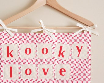 VALENTINES DAY Countdown Calendar - 14 Pockets for Kooky Love Notes, Letters - Decor, Decoration - Holder, Wall Hanging, Chair Backer - Red