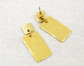 Gold Geometric Earrings - Rectangle Rustic Tribal Brushed Textured Metal Post Jewelry