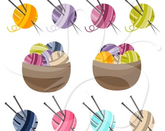 Knitting clipart clip art set - Personal and Commercial Use