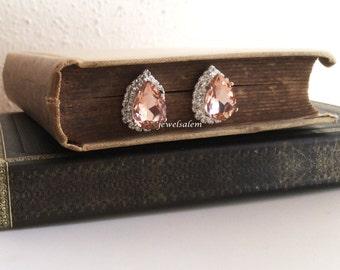 Silver Teardrop Earrings Champagne Rose Gold Peach Blush Morganite Pink Wedding Swarovski Crystal Bridal Jewelry Elegant Earring Studs C1 JW