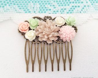 Wedding Hair Comb for Bride Bridal Headpiece Pink Blush Mint Green Floral Bridesmaid Hair Slide Pastel Colors Boho Chic Soft Romantic