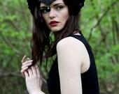 Black swan velvet flower headpiece, velvet rose crown, bridal beaded headdress