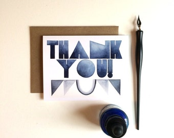 Thank You Card: Blue Deco