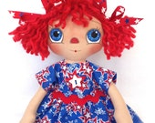 SALE Primitive Raggedy Ann Doll Patriotic Red White And Blue Stars Blue