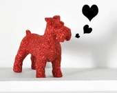 Red Schnauzer Dog Glitter Cute Table Decoration for Nursery Decor, Birthday Party or Summer/ Summer Wedding Tablescapes Centerpiece