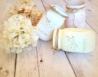 Painted Mason Jars Neutral Tone Mason Jars  Rustic Decor Distressed Decor Wedding Centerpieces  Cottage Chic  Mason Jars (3)