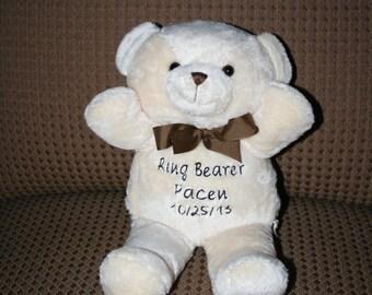 PERSONALIZED Teddy Bear, Ring Bearer Gift, Flower Girl Gift, New Baby Gift, Baby Shower Gift, Monogrammed Bear, Embroidered Bear, Baby Room