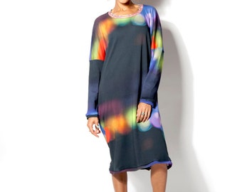 Winter SALE -20%  Oversize dress  for women with dimed lights print, made from organic cotton