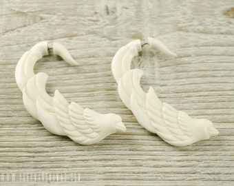 Fake Gauge Earrings White Bone Bird Organic Tribal Earrings - Gauges Bone - FG088 B