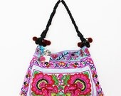 Blue Embroidered Hmong Handbag Cotton Pom Pom Strap  (BG127-BF)