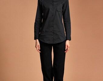 Women Reglan Shirt - Women Shirt - Black Shirt - Long Shirt - Free Shipping