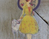 Listing for ECHO - 2 Lady of the Cotillion - Shrink Art Plastic Brooches - Shrinky Dink OOAK handmade jewelry