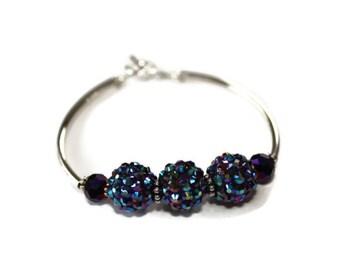 Blackberry Baubles Bracelet, Handmade Jewelry, Disco Ball Bracelet, Crystal Ball Jewelry, Purple Disco Ball