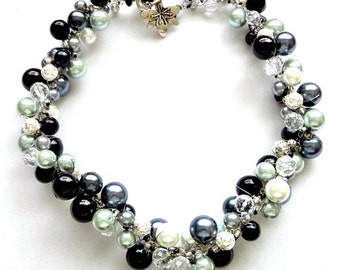 Crocheted Choker in Black, Grey and Silver Pearls