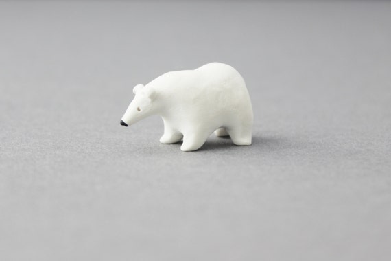 polar bear miniature polymer clay polar bear figurine polymer clay animals small tiny