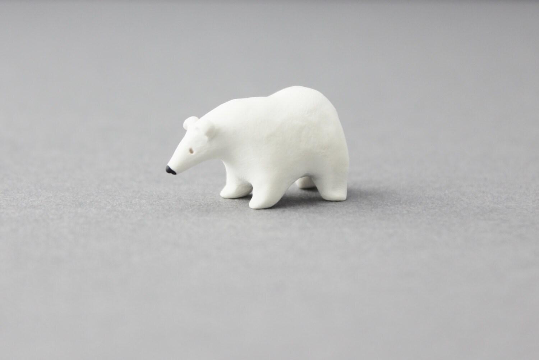 Polar Bear Miniature Polymer Clay Polar Bear Figurine Polymer