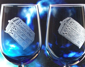 Dr. who glass Tardis glass Police box  tardis wedding glasses, blue glass goblets featuring doctor who  whovian  gift ideas, the doctor