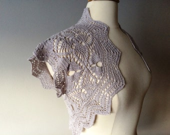 Silver gray crochet bolero shrug - made to order