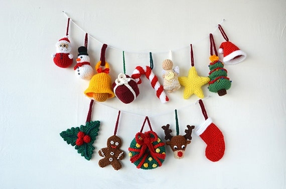 Christmas Ornaments - 14 Christmas Tree Decorations - Crochet Tree Santa Reindeer Star Angel Snowman Candy Cane - CROCHET PATTERN No.160
