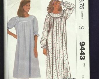 Vintage 1985 McCalls 9443 Round Yoke Nursing Nightgown  Size XS 6/8  UNCUT