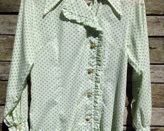 1960's 'Frontier' Green and White Polka Dot Blouse with a Frilled button Front