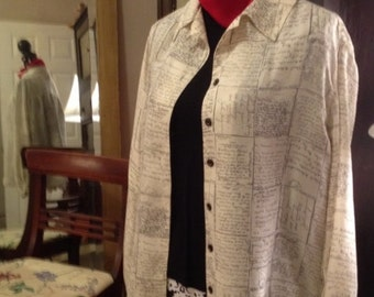 Studio 3000 Preowned  XL Silk Long Sleeved Blouse French Letters Print