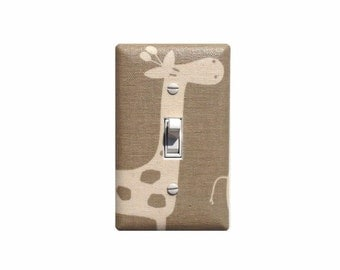 Maple Taupe Giraffe Light Switch Plate / Baby Girl Boy Gender Neutral Nursery Wall Decor / Premier Prints Gisella Stretch