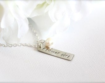 Real Pearl Flower Girl Gift, Stamped, Engraved Tag Charm Necklace Flower Girl Charm Hand Stamped Girls Necklace -- FREE Gift Packaging