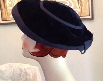 Vintage Navy Velvet Hat 1930  - 1940