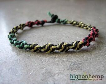 Rasta Bracelet, Spiral Bracelet, Rasta Hemp Bracelet
