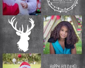 Photo Chalk Board  2013 Christmas Card Template 5x7