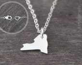 New York Necklace - Tiny Sterling Silver New York State Jewelry
