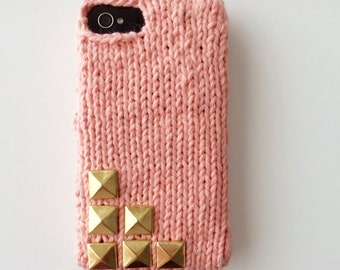 6 Stud - Knit iPhone sweater case with 6 gold pyramid studs