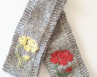 light gray marled wool headband earwarmer with rose embroidery