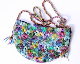 Rainbow Hand Embroidered Purse / Bag by PingWynny