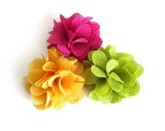 1 Pc - Burlap Flowers - 3.5 inch Folded Flowers