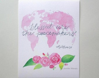 CLEARANCE Blessed are the peacemakers print Christian wall art scripture