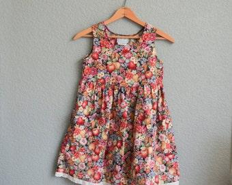 XXS/XS 1980s fruit pattern baby DOLL mini dress tunic top childs size 8