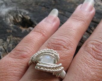 Wire Wrap Ring, Size 6 Rainbow Moonstone Wire Wrapped Ring in Sterling Silver