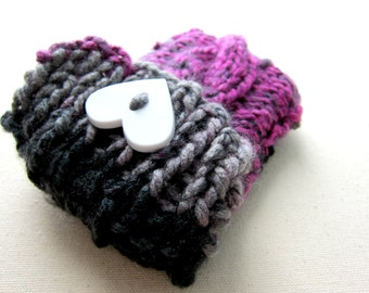 Knit Cell Phone Case I-Phone Cozy Knitted Crochet Heart Button Gadget Cover Cellular Multicolor Android