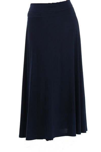s solid navy blue knit maxi skirt by