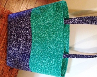 Tote, Market Bag, Navy Blue, Library Bag, Travel Tote, Work Tote, Teal Green