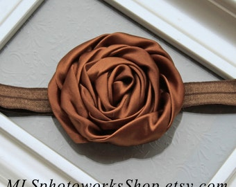 Satin Swirl Flower Headband for Baby Girl in Chocolate Brown