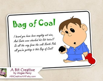 Bag of Coal Christmas Stocking Stuffer Gag Gift Design - DIY Printable