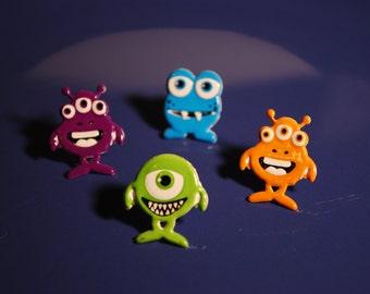 Monster Studs -- Earrings, Monster Earrings, Purple, Green, Orange, Blue