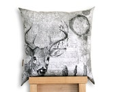 Oh Deer! Black & Grey scale Cushion Cover. Backed with Hemp/Yak Wool. Buck. Stag.