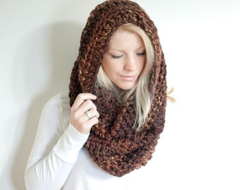 the CHEROKEE cowl - chunky cowl scarf hood circle scarf - sequoia - slightly ribbed