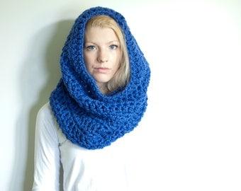the CHEROKEE cowl - chunky cowl scarf hood circle scarf - royal blue - slightly ribbed