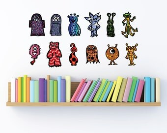 Monster decals- Fabric adhesive decals- Small Size