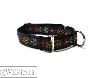 """Aztec Temple Dog Collar // 1"""" (25mm) Wide // Martingale or Quick release // Black // Red // Lime // Yellow // Orange // Blue"""